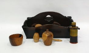 Group of turned wood bowls, boxes and covers andother itemsto include bell-shaped tobacco jar