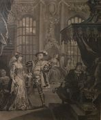 """After William Hogarth 19th century engraving ( no engraver's name) """" King Henry the Eighth and Anna"""