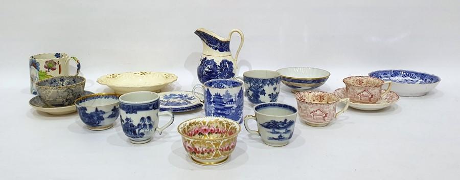 Lot 54 - Kutani miniature porcelain tea bowl, Spode porcelain miniature bowl, circa 1800 with pink rose and