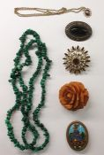 Quantity brooches, pendants, necklaces andother costume jewellery(2 boxes)