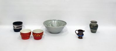 Two Poole pottery small flowerpots'Delphis' pattern, studio stonewarebowldecorated with birds,