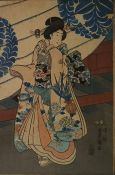 Pair of Japanese woodblock colour prints after Toyokuni, each of a courtesan in embroidered robe, in