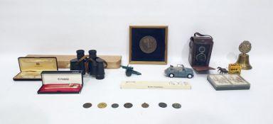 Box Brownie camera, a Kodak camera, a framed medal commemorating the Prince and Princess of Wales