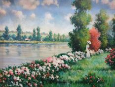 Pierre Ronet Oil on canvas Figure by river, signed lower left, 44cm x 60cm