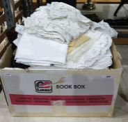 Box containing three faux fur coats and some table linenCondition ReportPlease find additional