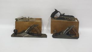 Selection of vintage woodworking tools including two planes made by Record No.5 and No.04½