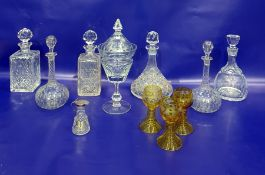 Cut glass ship's decanterwith stopper, two cut glass spirit decanters, pair ball and shaft shape