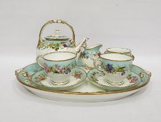 Grainger & Co Worcester porcelain early morning tea service for two persons, six pieces, viz:-