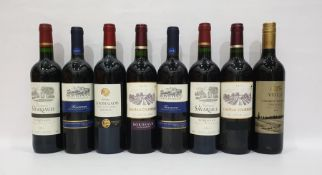 Eight bottles of mixed red wineto include Chateau Courreges Bordeaux 2014 and Chateau la Rose Gadis