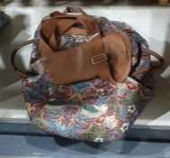 Fabric travel bag and matching back pack, by Signore, William Morris style pattern (2)