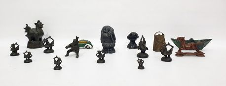 Assorted metalwareto include cow bell, Chinese-type figure, Shuco 3000 wind-up car, etc