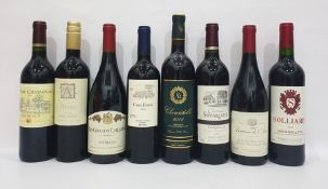 Eight bottles of mixed red wine to include Chateau Savariaud Bordeaux 2011 and Altena Sicilian
