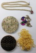 Small quantity of costume jewellery to include bead necklaces, gilt metal and black lacquer powder