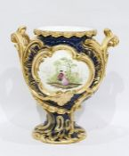 English porcelain blue ground two-handled rocaille moulded vase, mid 19th century, painted with