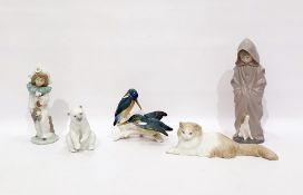 Lladro porcelain model Polar bear, seated, two Nao figures of children and a Nao seated cat,