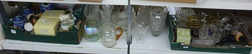 Two boxes of mixed ceramics and glass plus other items including vintage bottle, rose bowl, assorted