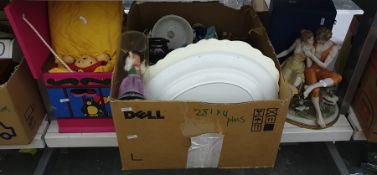 Three boxes of mixed items to include copper fondue pan, moulded ceramic flowers, an oak cased