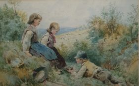 Unattributed (possibly late 19th century English school) Watercolour drawing  Country children