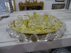 Gilt metal and cut glass pendant ball ceiling light fitting