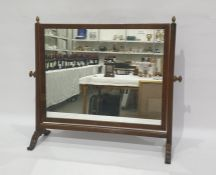 19th century mahogany framed dressing table swing mirror, the rectangular mirror supported by fluted