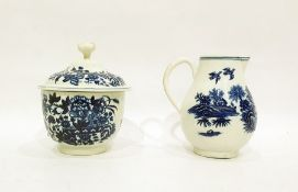 18th century Worcester porcelain printed blue and white sugar bowl and cover, 12cm high and a milk