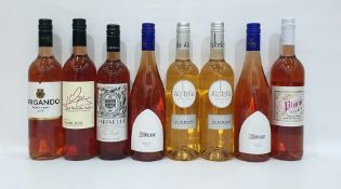Eight bottles of assorted rose wine to include South African Plume Palace Shiraz Rose and French