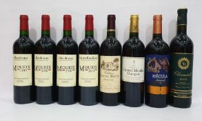 Eight bottles of mixed red wine to include four bottles of Bordeaux Moueix 2010, one bottle of
