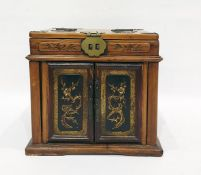 20th century Chinese miniature dressing chest, the lift-top with fold-out mirror, two doors