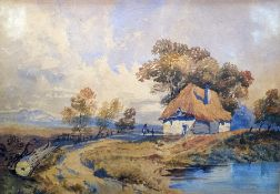 David Cox Junior (attr) (1809-1885) Watercolour drawing  Thatched cottage by a track, 24cm x 34cm