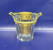 Baccarat cut glass and gilt metal wine cooler, bucket-shaped and panel cut, the mounts with end