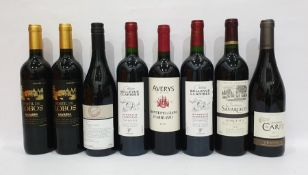 Eight bottles of mixed red wine to include Chateau Belle Vue Claribes 2012 Bordeaux Superieur and