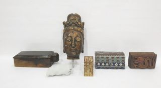 Carved wooden head of an Indonesian-style God, a wooden box with two compartments and swing lid, a