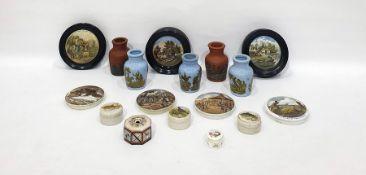 Quantity of 19th century earthenware Pratt pot lidsand similar vases and lidded trinket pots, etc