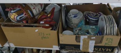 Four boxes of assorted items including moulded champagne flutes, a walking stick, Chinese wall