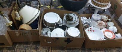 Three boxes of mainly ceramicsincluding part service from Boots the Chemist 'Hanover Green'