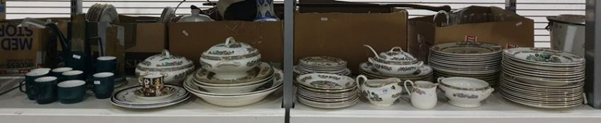 Large quantity of Willow pattern tableware including dinner plates, soup plates, tureens and meat