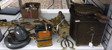 Quantity of brass, pewter and other metal ware to include copper smoothing iron, coal box, companion
