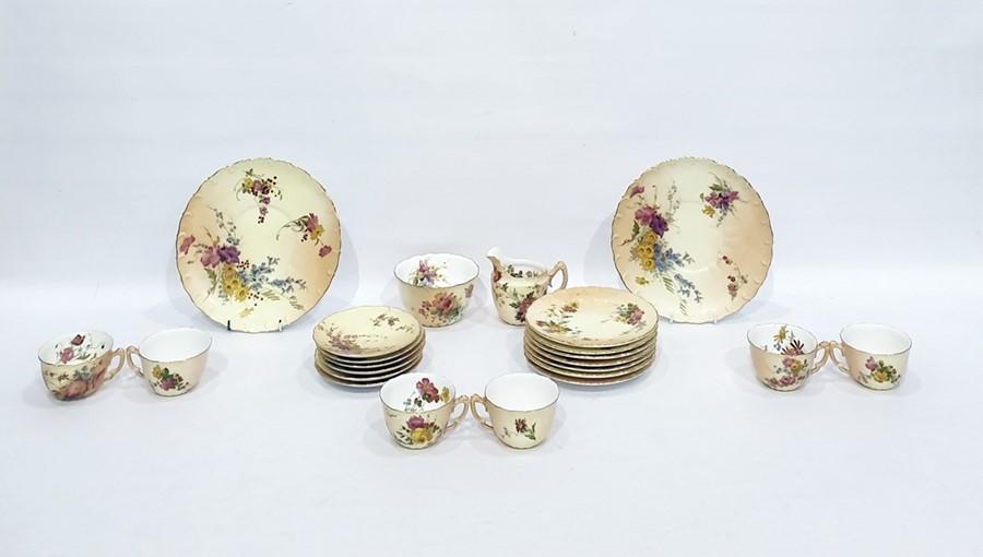 Lot 3 - Royal Worcester porcelain tea service for 6 persons, floral spray decoration pattern no. W4492, 22