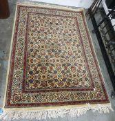 Eastern rug, cream ground with all over Herati pattern foliate decoration on a three margin border,