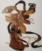 Rohitha Mixed media Dancer with fan, signed 'Rohitha, Sri Lanka', 38cm x 30cm Pair of woodblock