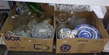 Three boxes of mainly glassware and some blue and white ceramics including rose bowl, small vases