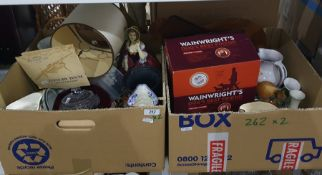 Two boxes of mixed items including cigarette cards, character jugs, flatware and vases