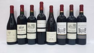 Eight bottles of mixed red wineto include Chateau de Roquebrune Bordeaux 2009 and Domaine de L'Arca