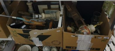 Three boxes and other items.a mixed lot to include binoculars, vintage badminton racket, wooden