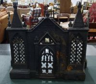 Cast iron fireguard in the architectural Gothic taste and flatware