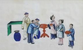 "Set of 11 Chinese watercolour on rice paper drawings ""Stages in the Life of a Chinese Official"