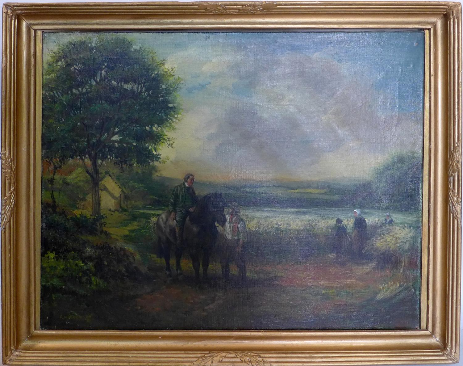 Lot 377 - A 20th century rural scene oil on canvas, in gilt frame and signed, 51 x 64cm
