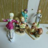 Lot 479 - Three early Royal Worcester porcelain figures, 'Thursday child has far to go', H.17cm, '