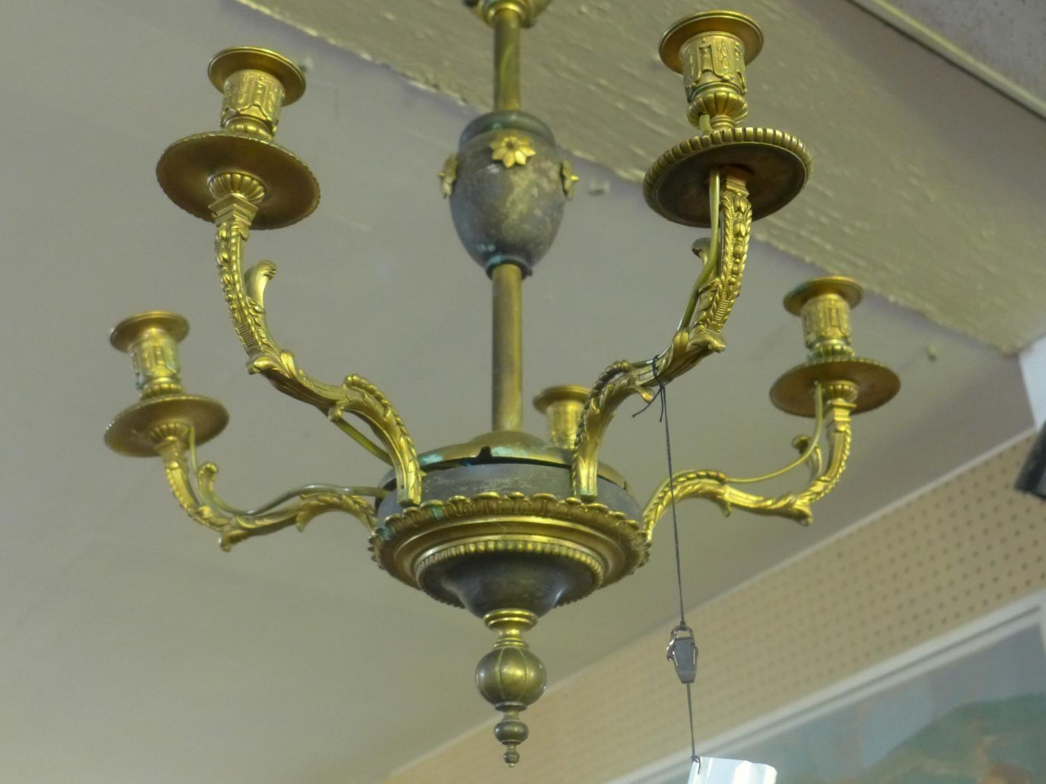 Lot 601 - A 19th century French gilt bronze chandelier
