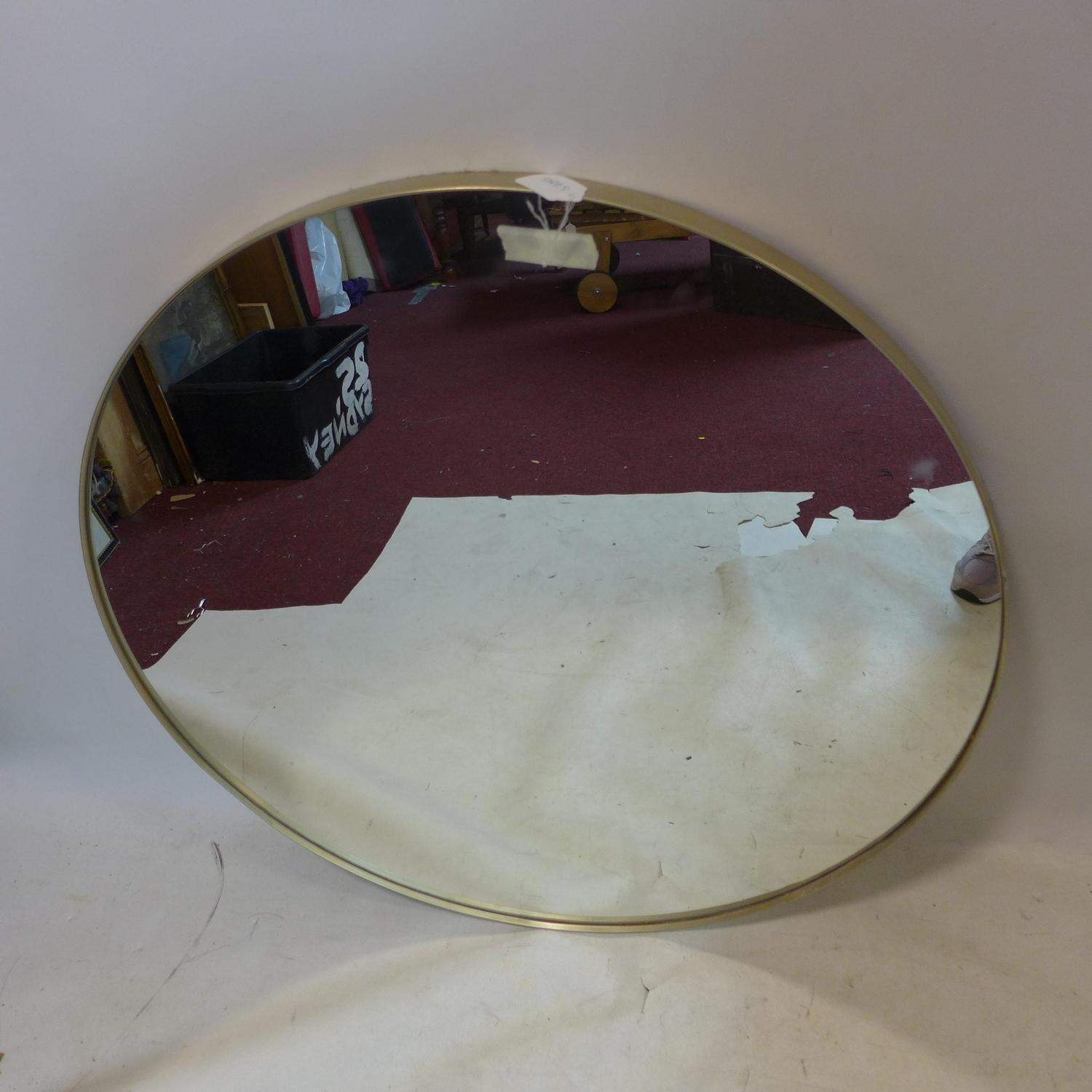 Lot 543 - A large contemporary circular gilt mirror, Diameter 91cm
